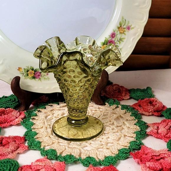 Vintage Green Hobnail Ruffled Vase